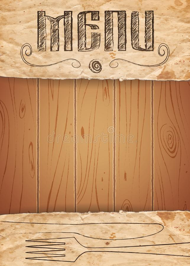 Menu of restaurant on old paper and wooden background. Vector illustration royalty free stock image