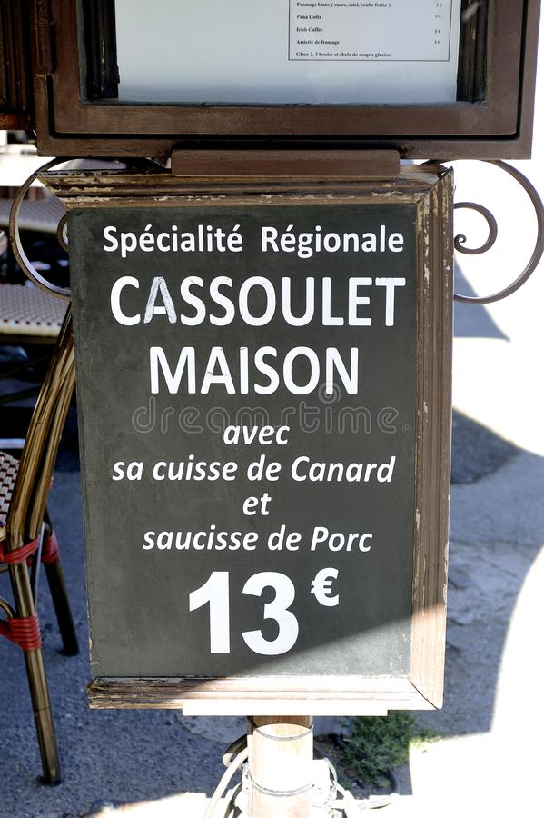 Menu of restaurant proposing the famous cassoulet. House in a restaurant of the fortified city of Carcassonne stock image