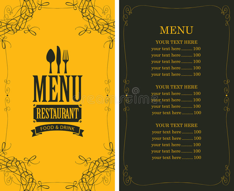 Menu for the restaurant. In retro style with cutlery stock illustration