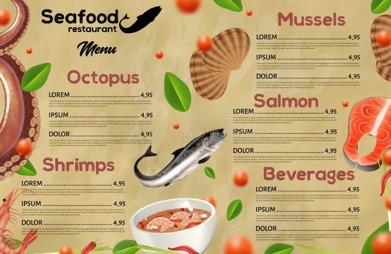 menu Restaurants in zeewater, Mediterrane keuken stock illustratie