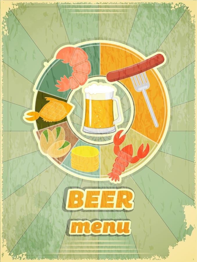 Menu retro da tampa para a cerveja ilustração royalty free