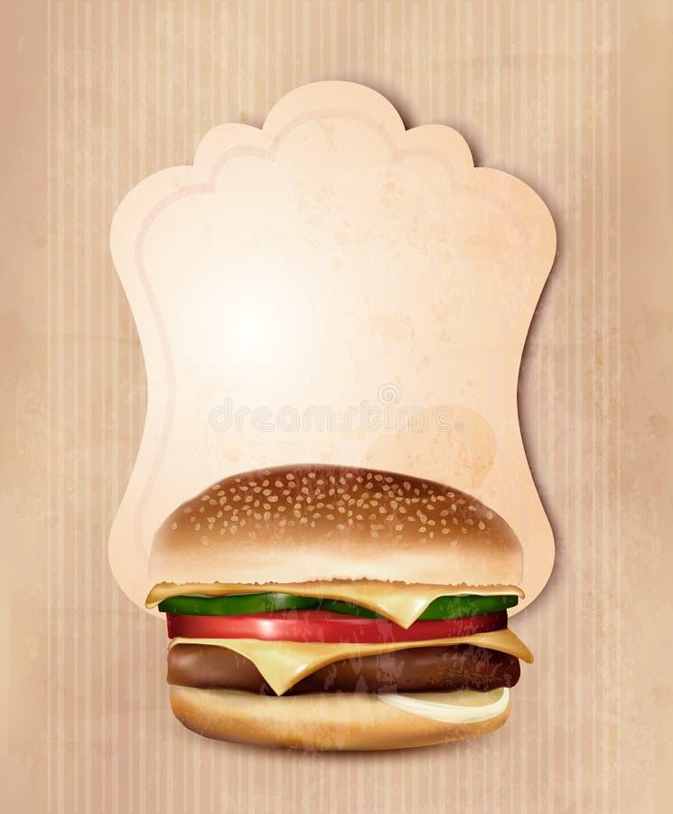 Menu retro do fast food para o hamburguer. ilustração royalty free