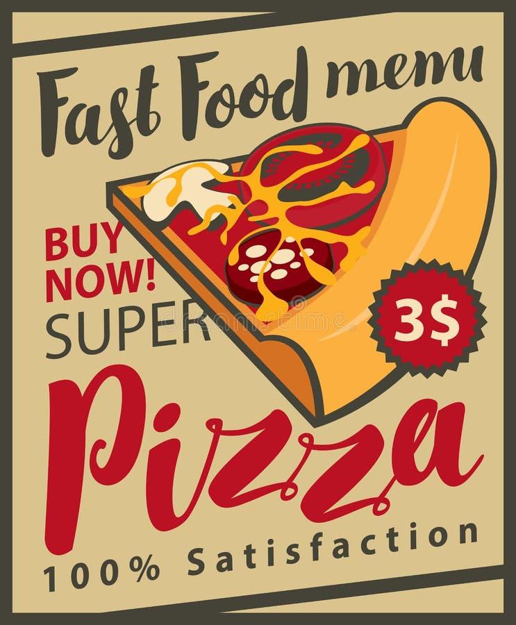 Menu retro do vetor com fatia de pizza ilustração stock