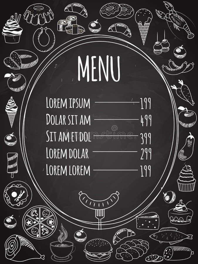 Menu sans couture de nourriture de vecteur sur le tableau illustration stock