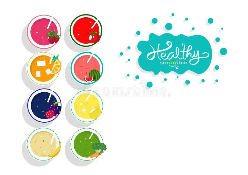 Menu saudável da dieta do equilíbrio da coleção do suco do batido, produto de alimento do molde da bandeira e beber, vegetal e fr ilustração do vetor