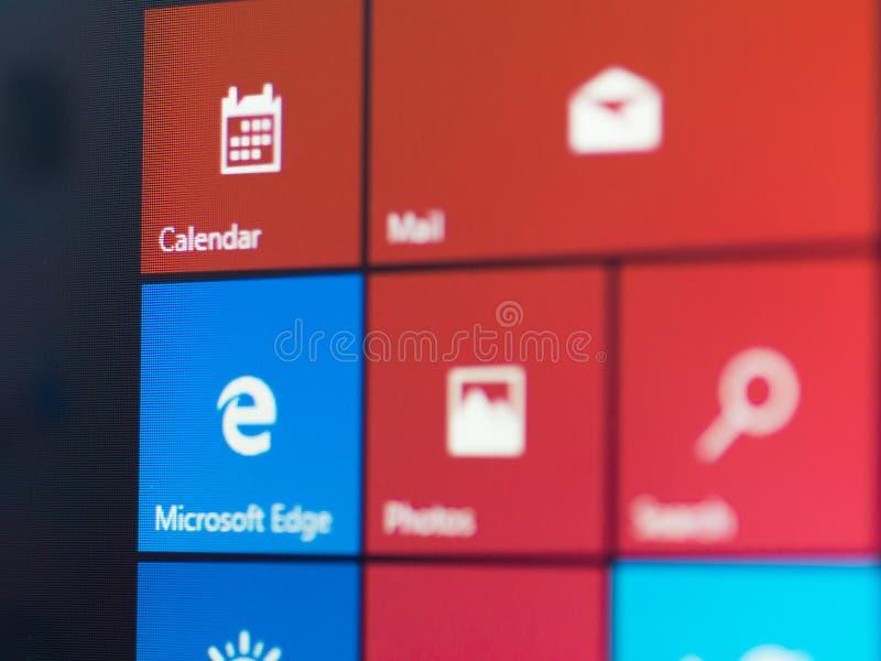 Menu screen of new Windows 10 focussed on Mirosoft Edge icon royalty free stock image