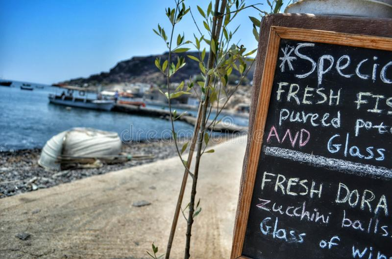 Menu by the sea. royalty free stock photo