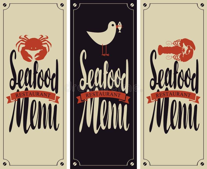 Menu for seafood restaurant vector illustration
