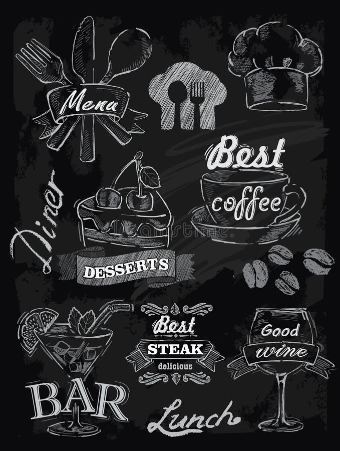 Menu set on chalkboard royalty free illustration