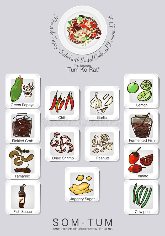 Menu set of papaya salad vector illustration