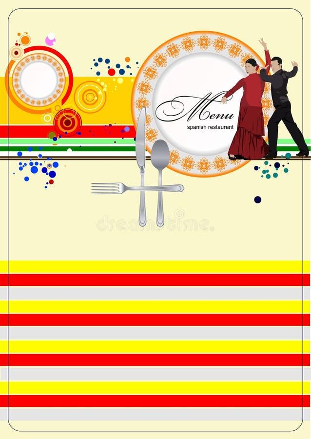 Menu spagnolo del ristorante royalty illustrazione gratis