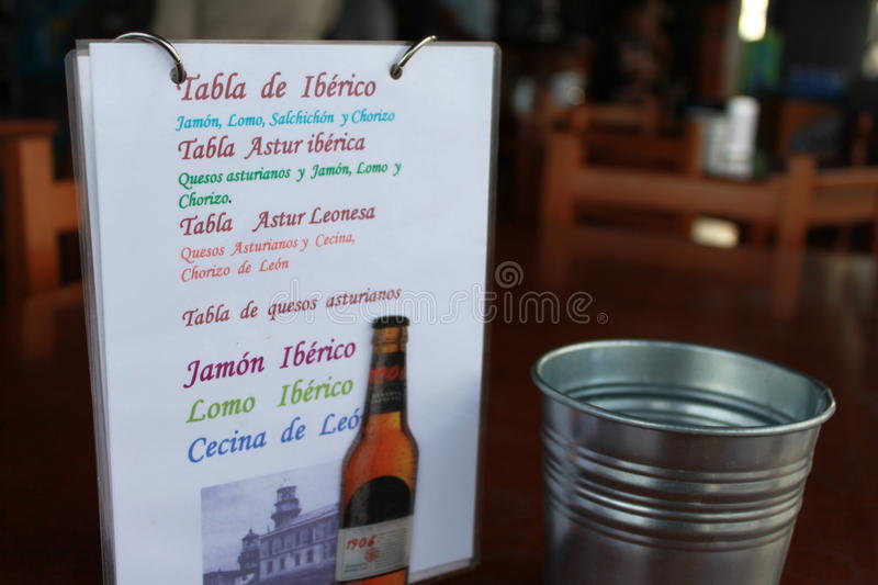 Menu Spanish restaurant royalty free stock photo