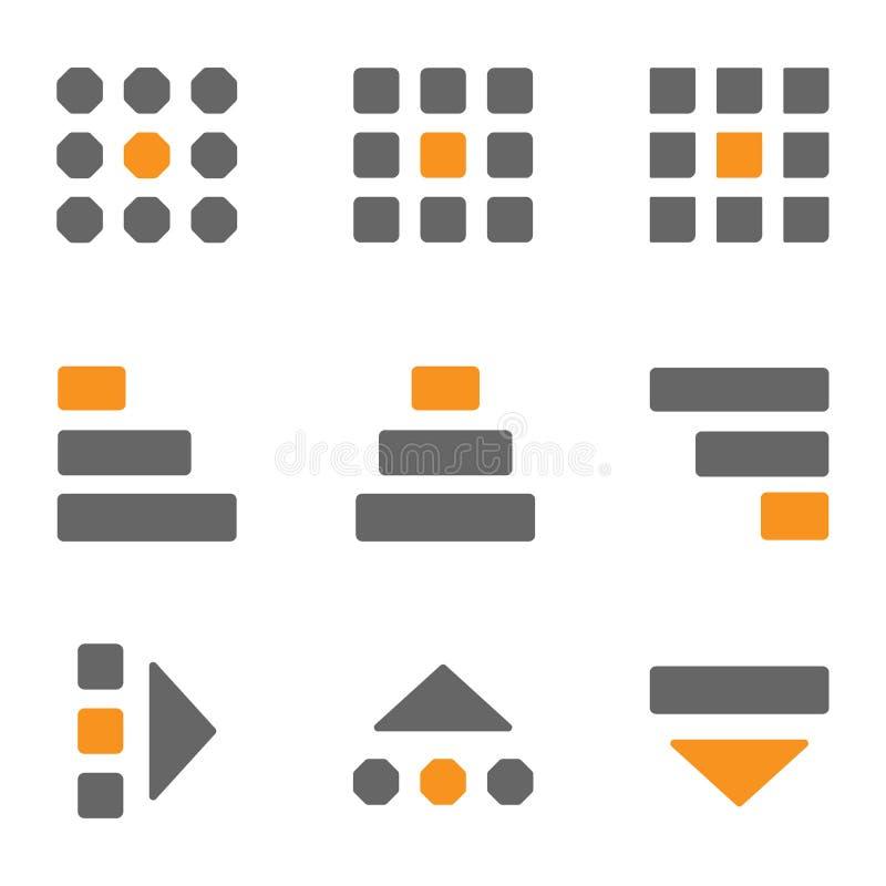 Menu stabilito dell'hamburger delle icone, menu di kebab, menu di bento, progettazione del menu UI UX delle polpette sotto forma  royalty illustrazione gratis