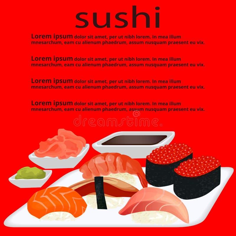 Menu sushi on the red background. Vector illustration royalty free illustration