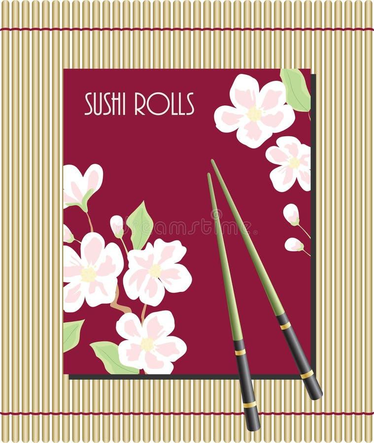 Menu for sushi rolls vector illustration