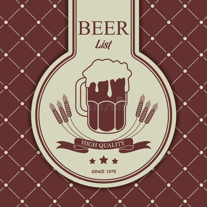 Menu témoin avec une tasse de bière illustration de vecteur