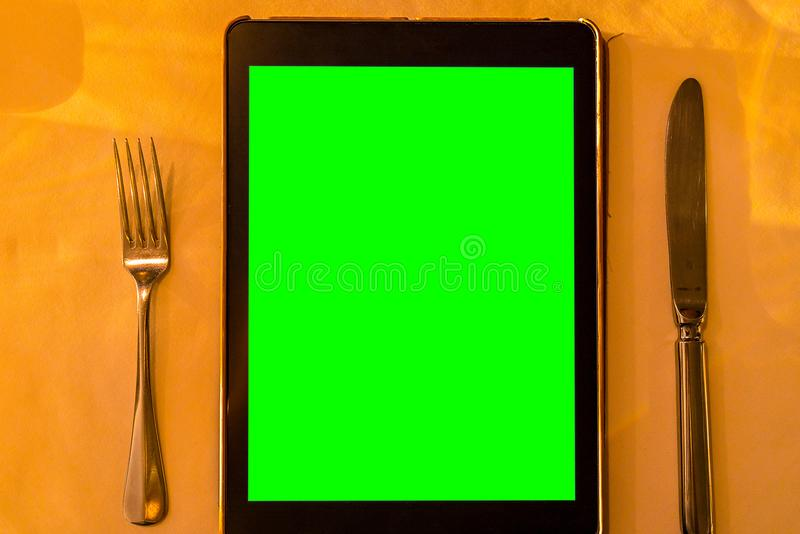 Menu Tablet stock photography