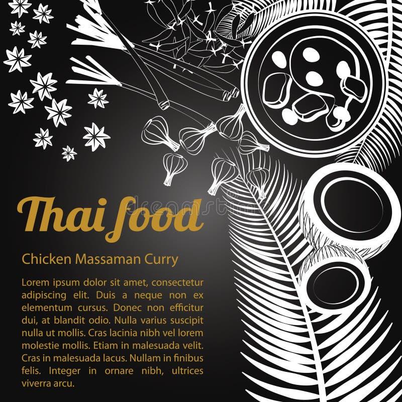 Menu tailandês Massaman do alimento do esboço [convertido] ilustração stock