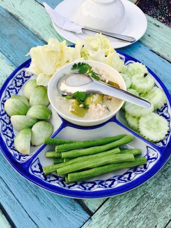 Menu tailandese della verdura di stile fotografia stock