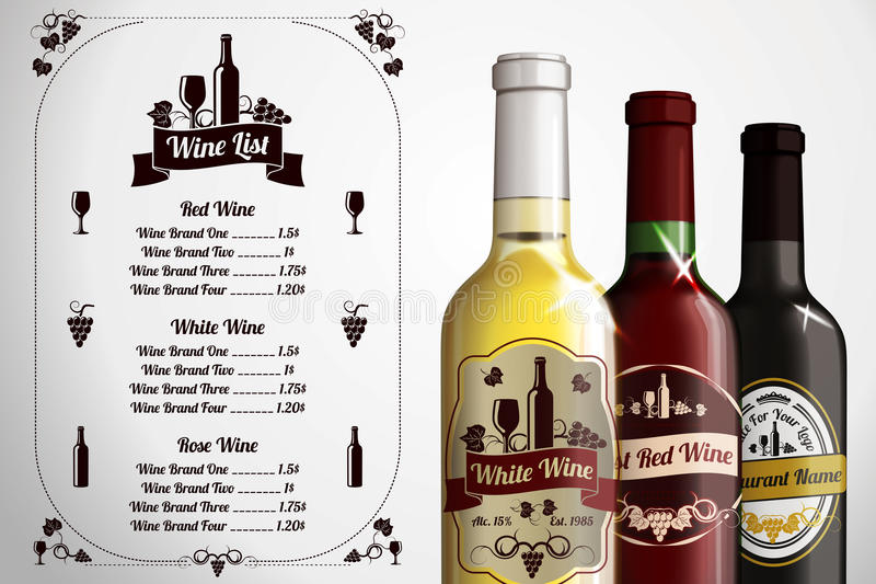 Menu template for alcohol with three realistic stock image download menu template for alcohol with three realistic stock image image 49667787 pronofoot35fo Images