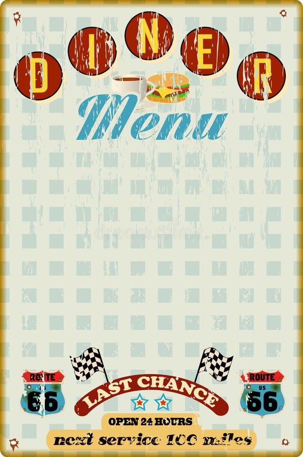 Menu template for diner vector illustration