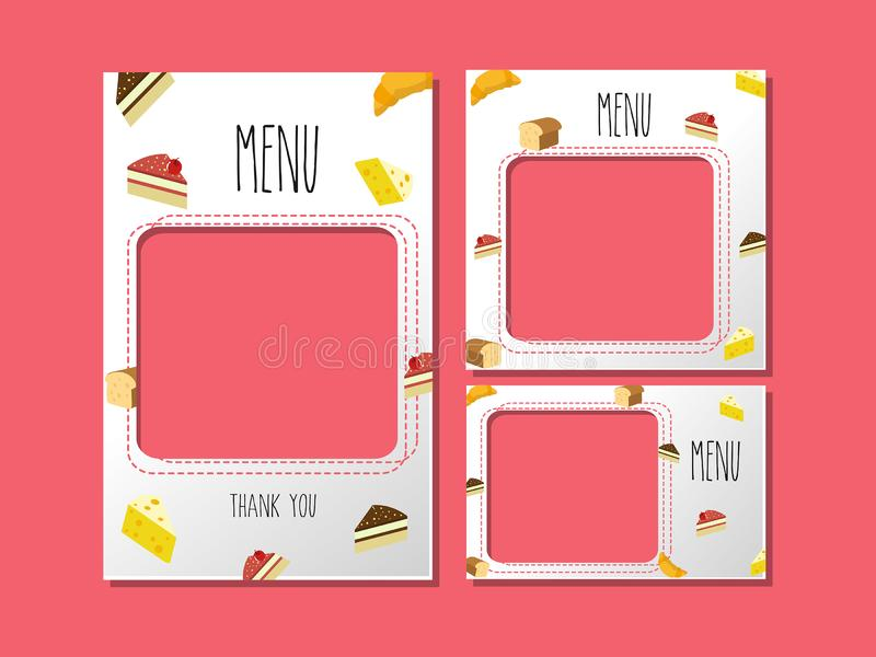Menu template for dessert and sweet bakery. stock illustration