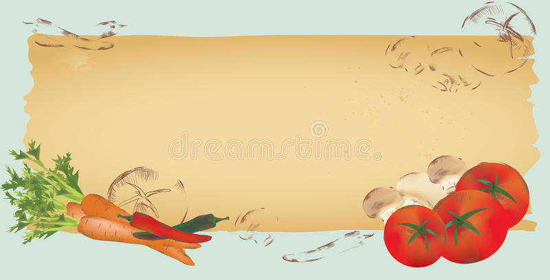 Menu Template Page. Design with Vegetables stock illustration