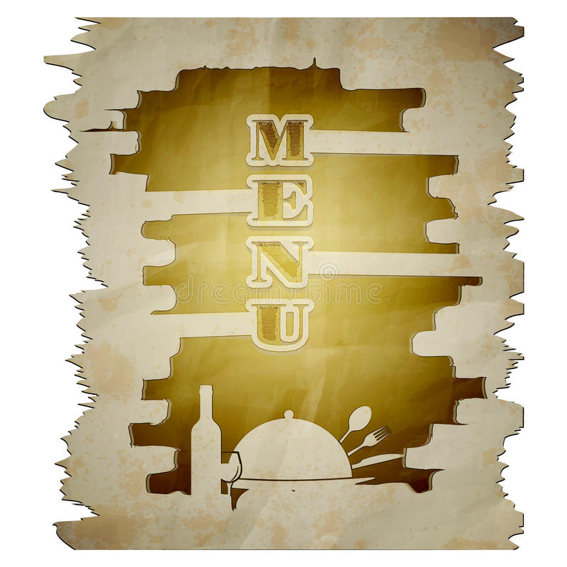Menu template torn page with the stencil. Template restaurant menu torn page with the stencil. The isolated image on a white background can be used with any text stock illustration