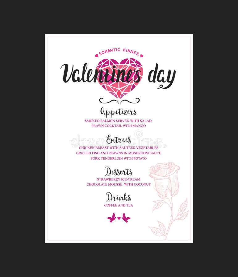 Menu Template For Valentine Day Dinner Stock Vector  Image
