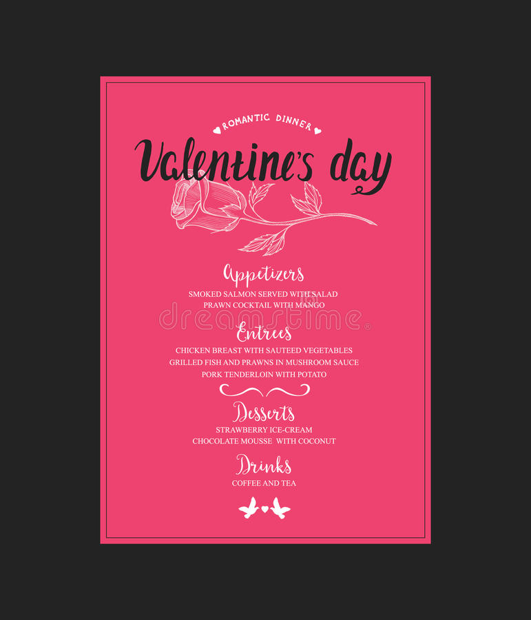 Menu Template For Valentine Day Dinner Stock Vector  Illustration