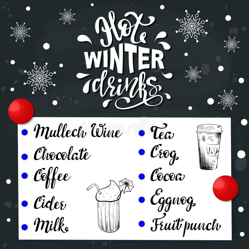 Menu tiré par la main d'affiche de cru de vecteur avec le lettrage de calligraphie et les noms des boissons chaudes d'hiver illustration libre de droits