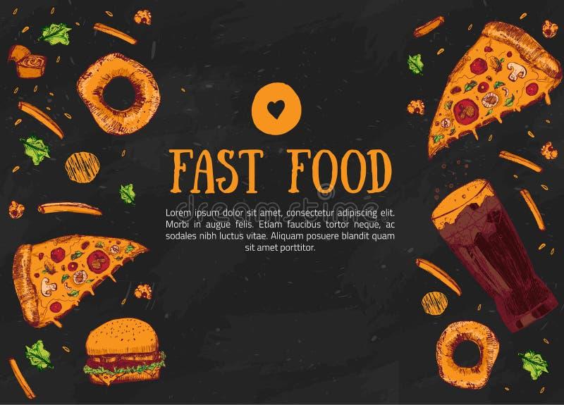 Menu tiré par la main d'aliments de préparation rapide de croquis Les produits alimentaires pour le menu conçoivent, faire de la  illustration libre de droits