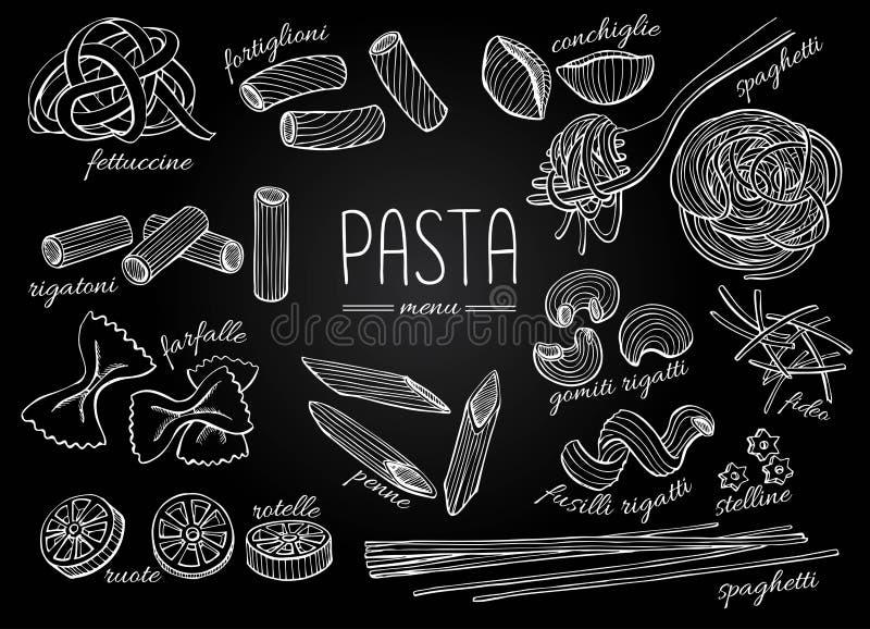 Menu tiré par la main de pâtes de vecteur Illust chalkborad de vintage de schéma illustration stock