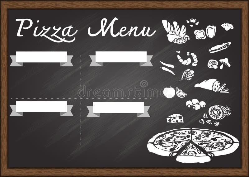 Menu tiré par la main de pizza sur le calibre de conception de tableau prêt à employer illustration de vecteur