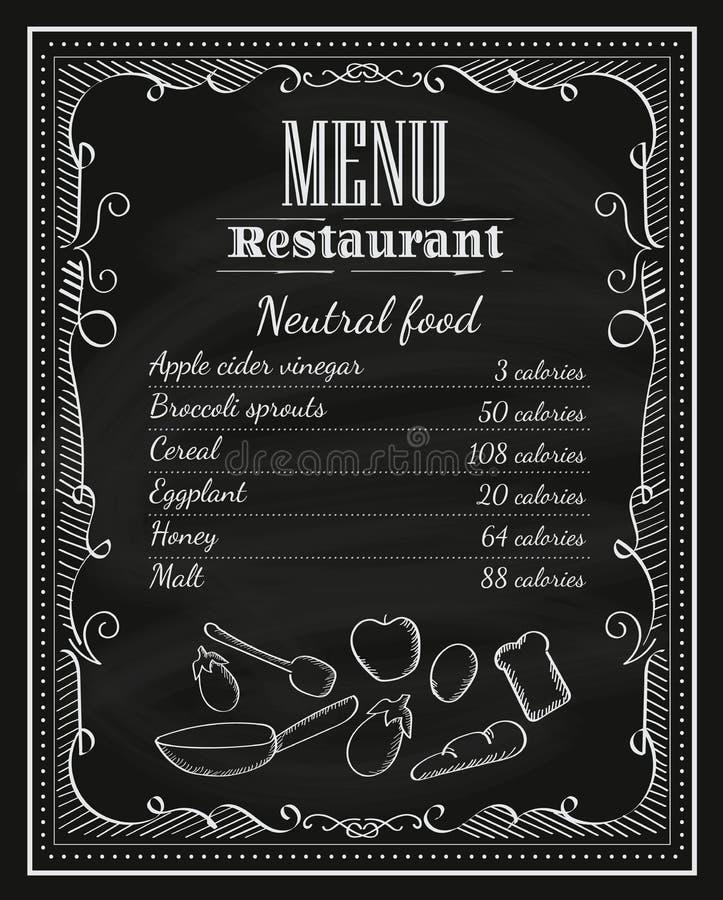 Menu tiré par la main l de vintage de cadre de tableau de restaurant de tableau noir illustration libre de droits