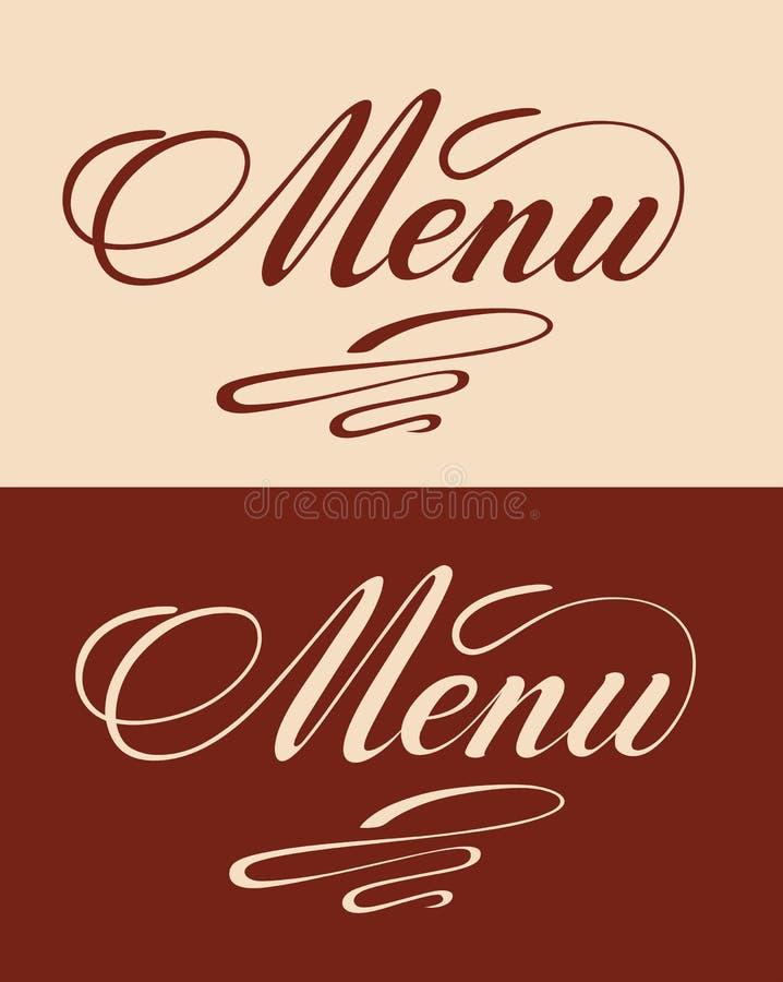 Menu title. Cocktails handwritten lettering design set. Restaurant cafe menu titles. Calligraphic headlines. Red font on a beige background and inverted image vector illustration