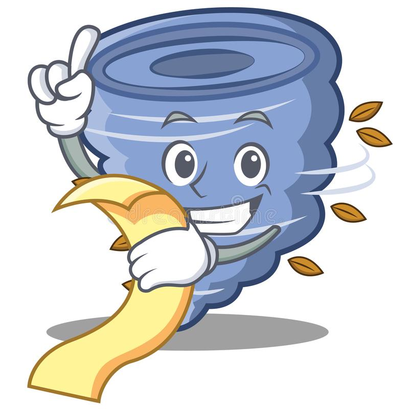 With menu tornado character cartoon style vector illustration