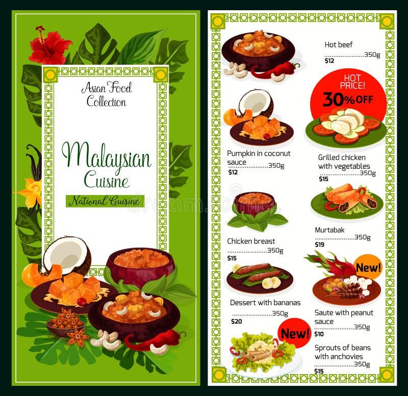 Menu tradicional do alimento dos pratos da culinária malaia ilustração stock