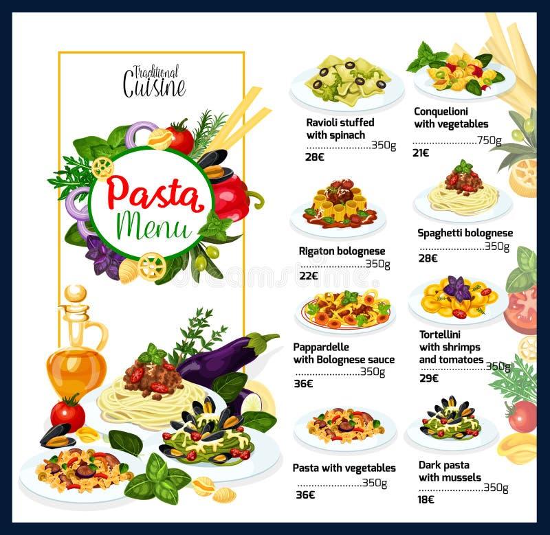 Menu tradizionale dei piatti della pasta di cucina italiana royalty illustrazione gratis