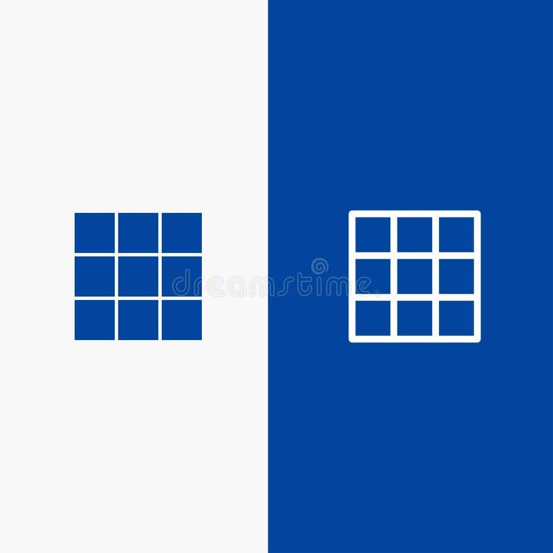 Menu, Ui, Błękitnej ikony błękita Stały sztandar, Podstawowej linii, glifu Stałej ikony sztandaru glifu i i linii ilustracja wektor