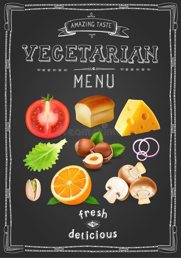 Menu végétarien sur le tableau Menu tiré de cru avec des légumes et des fruits illustration stock