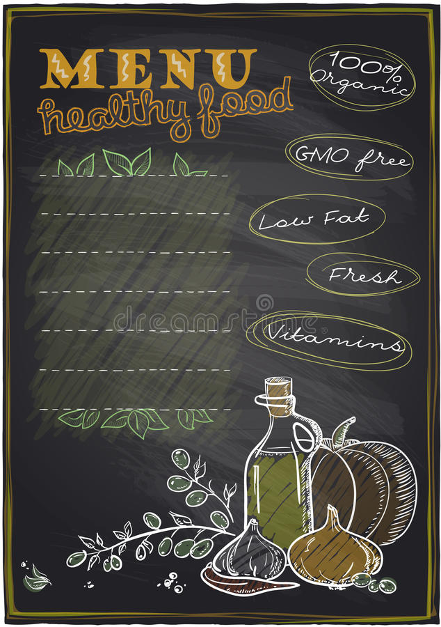 Menu van het bord het gezonde voedsel. vector illustratie