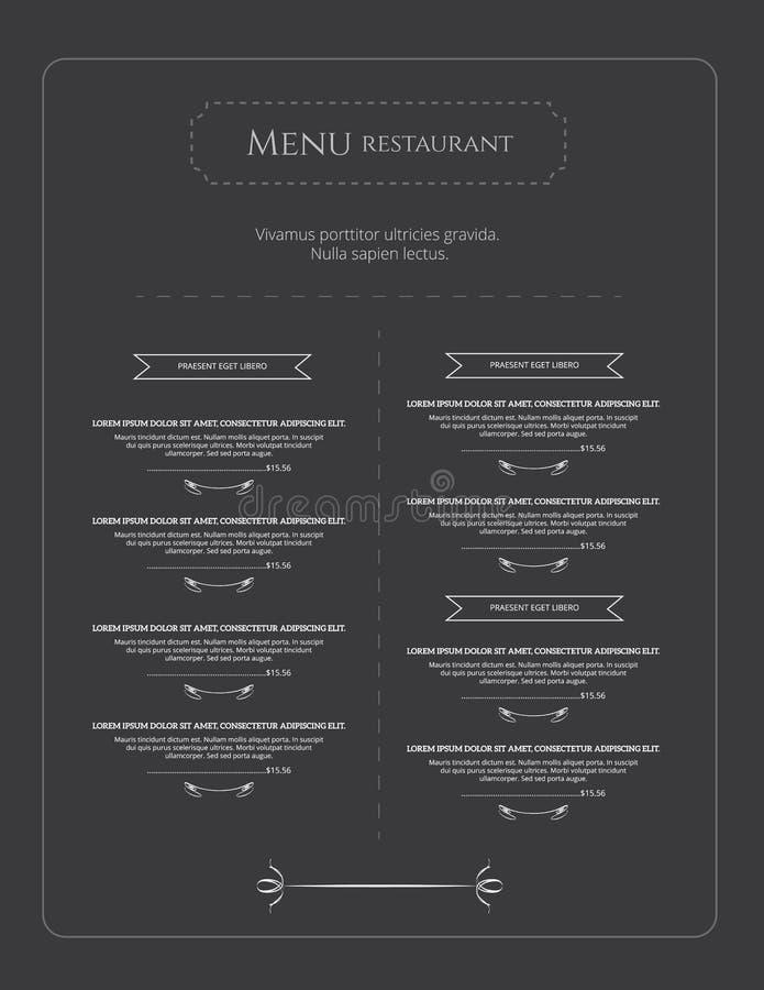 Menu vector template royalty free illustration