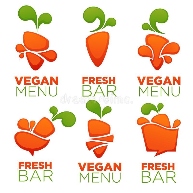 Menu vegetal do vegetariano da cenoura e suco fresco, coleção do vetor ilustração stock