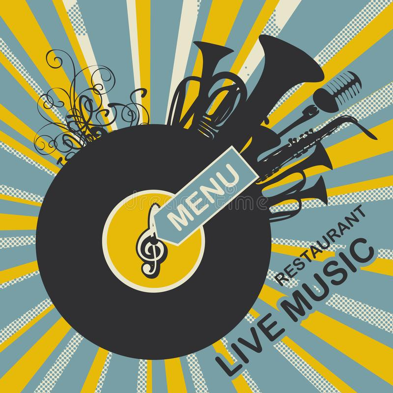 Menu with vinyl record and music instruments. Vector menu or banner for restaurant with live music decorated with old vinyl record and music wind instruments on stock illustration