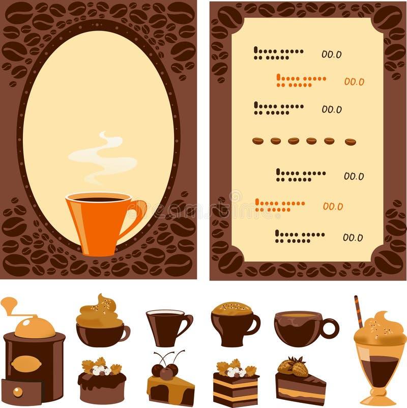 Menu voor koffie met inzamelingsdessert en dranken royalty-vrije illustratie