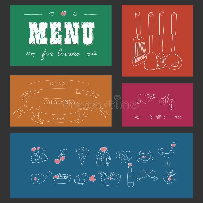 Menu voor minnaars Voedsel met harten De dag van de gelukkige Valentijnskaart De elementen van het krabbeldecor Getrokken hand Ge vector illustratie