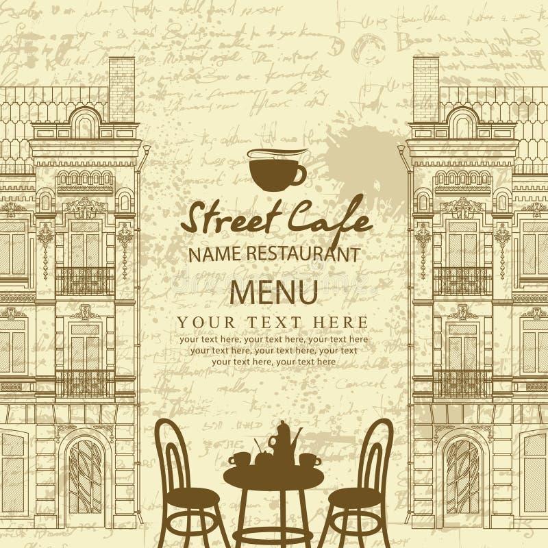 Menu voor stoepkoffie met lijst en architectuur vector illustratie