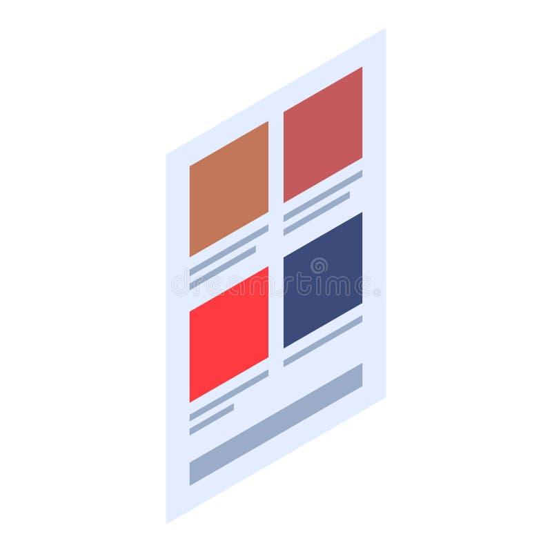 Menu web page icon, isometric style. Menu web page icon. Isometric of menu web page vector icon for web design isolated on white background stock illustration
