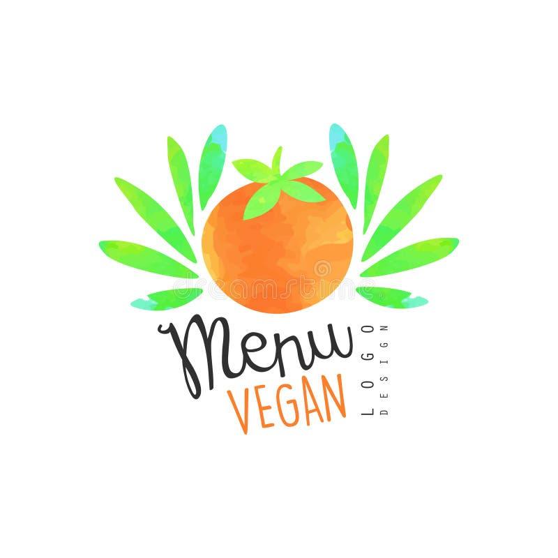 Menu weganinu loga projekt, element dla, jarska restauracja i baru menu, zdrowego jedzenia i napojów, owocowy rynek, organicznie royalty ilustracja